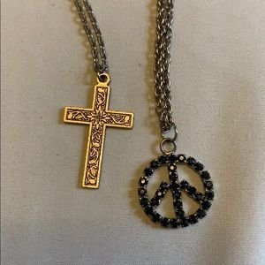 Peace sign and cross necklace set